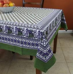 Cotton Floral Elephant Tablecloth for Square Tables 60 x 60