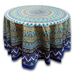 Cotton Geometric Mandala Floral Tablecloth Round 88 Inches &