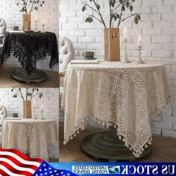 crochet lace woven tablecloth tassel table cover