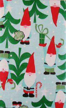 Deck the Halls with Santa Gnomes Vinyl Flannel Back Tableclo
