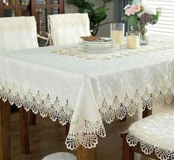 Elegant Lace Satin Table Linen Cloth Cover For Wedding Party