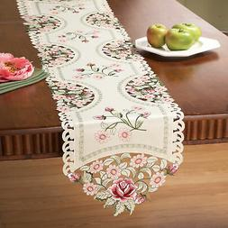 Collections Etc Embroidered Rose Decorative Table Linens