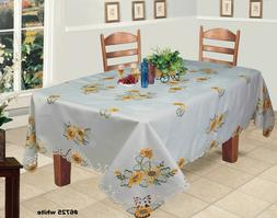 Embroidered Sunflower Cutwork Tablecloth & Napkins White Hol