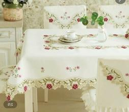 Embroidery Fabric tablecloth Square 42x42 Flower Ivory