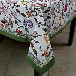 Cotton Berry Print Floral Tablecloth for Square Tables 60 x