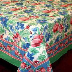 Handmade Floral Brush Cotton Tablecloth for Square Tables Gr