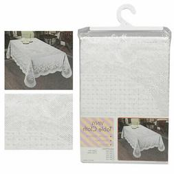 Floral Lace Tablecloth Plastic White Banquet Party Table Cov