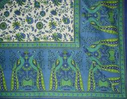 "Floral Peacock Cotton Tablecloth 88"" x 60"" Blue"