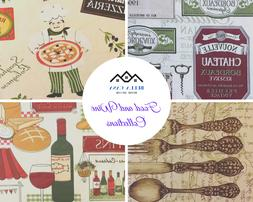 Food and Wine Inspired Flannel backed Vinyl Tablecloths. Rou