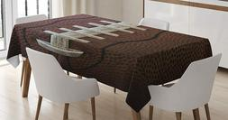 Football Printed Fabric Tablecloth Polyester 52x70 Brown