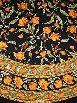 """India Arts French Floral Round Cotton Tablecloth 70"""" Amber o"""
