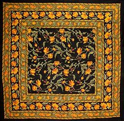 French Floral Square Cotton tablecloth 60 x 60 Amber on Blac