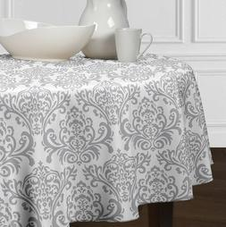 Grey & White Damask Round Tablecloths Dining Room Kitchen 72
