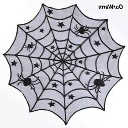 Black Lace Spider Web Halloween Tablecloth Round Table Toppe