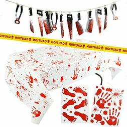 Halloween Party Decoration Set Bloody Tablecloth Caution Tap