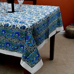 Hand Block Print Cotton Floral Tablecloth for Square Tables