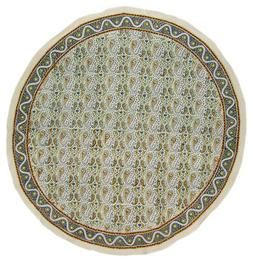 Hand Block Printed Floral Round Cotton Tablecloth 72""