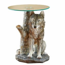 Hand Painted Glass Tabletop Wolf Accent Table