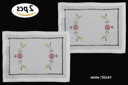 Creative Linens Hemstitch Embroidered Daisy Flower Placemats