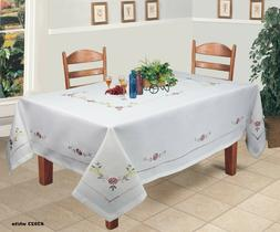 Creative Linens Hemstitch Embroidered Daisy Flower Tableclot
