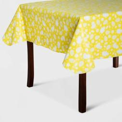 """Holiday Easter Print Tablecloth - Yellow - 84""""x60- Spritz -"""