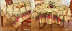 Collections Etc Holiday Lattice Holly & Ornament Tablecloth