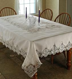 Violet Linen Imperial Embroidered Vintage Lace Design Oblong