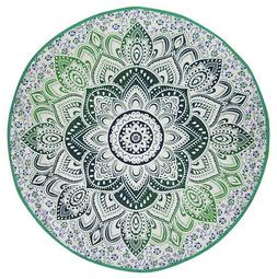 "Indian Mandala Print Round Cotton Tablecloth 80"" Green"