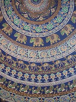 "Indian Mandala Print Round Cotton Tablecloth 80"" Blue"