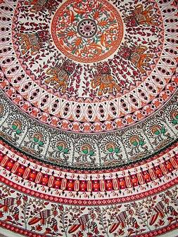 """Indian Print Mandala Round Cotton tablecloth 70"""" Red"""