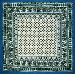 indian print square cotton tablecloth