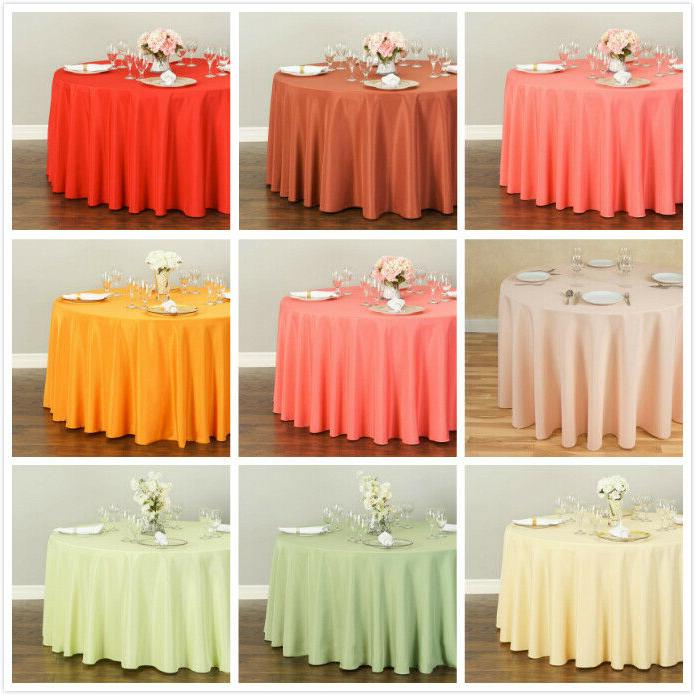 108 in round polyester tablecloths 10 pack