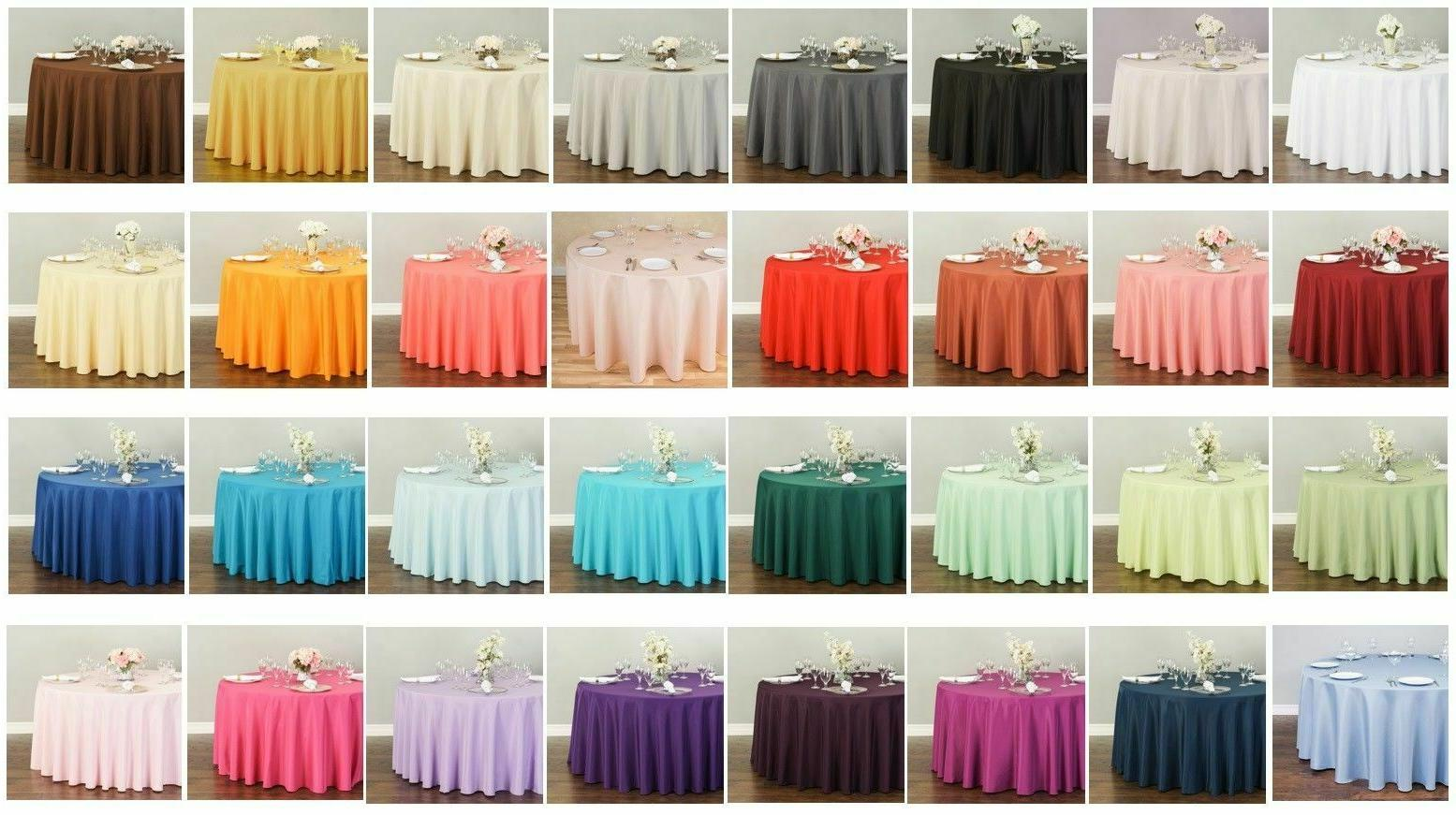 132 in round polyester tablecloths 10 pack