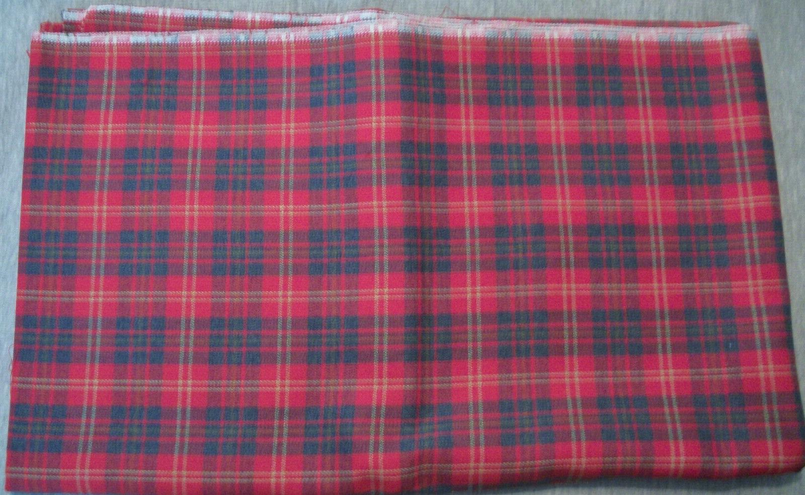 "2 Yards 45"" Wide Red & Plaid Blend Fabric"