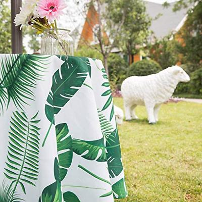 Poise3EHome 52 Waterproof Tropical Round Tablecloth for