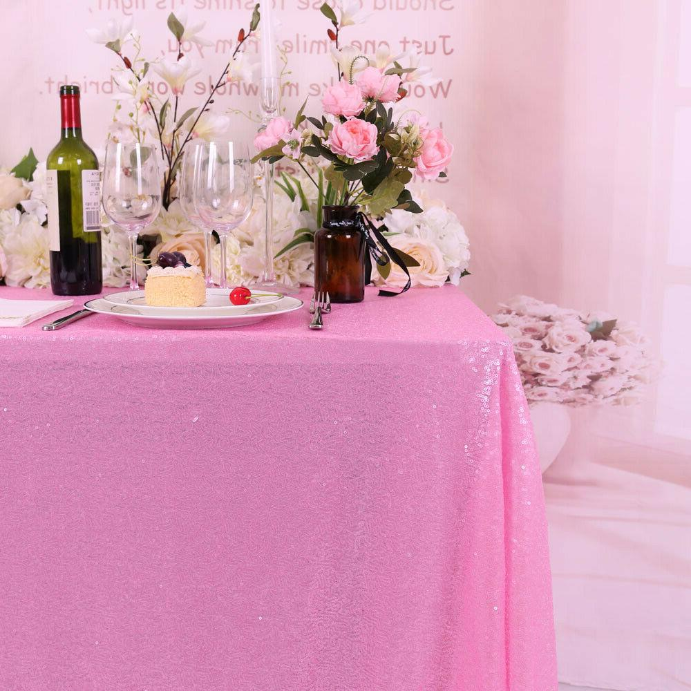"""60""""x102"""" Rectangle Pink Sequin Tablecloth Sparkly Table Cover Home"""