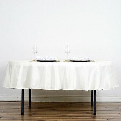 70 inch ivory round polyester tablecloth table