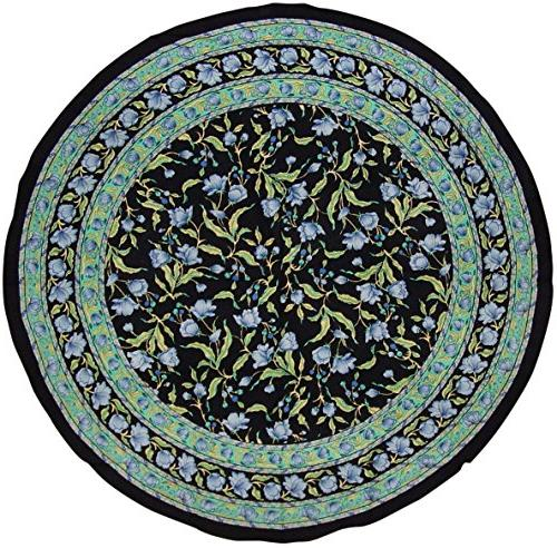 India Arts French Floral Round Cotton Tablecloth Blue on