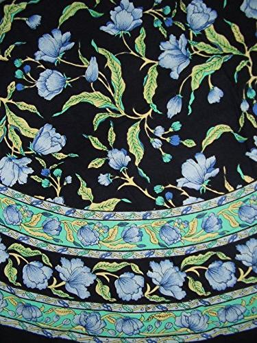 """India Arts French Floral Round Cotton Tablecloth 70"""" Blue on"""