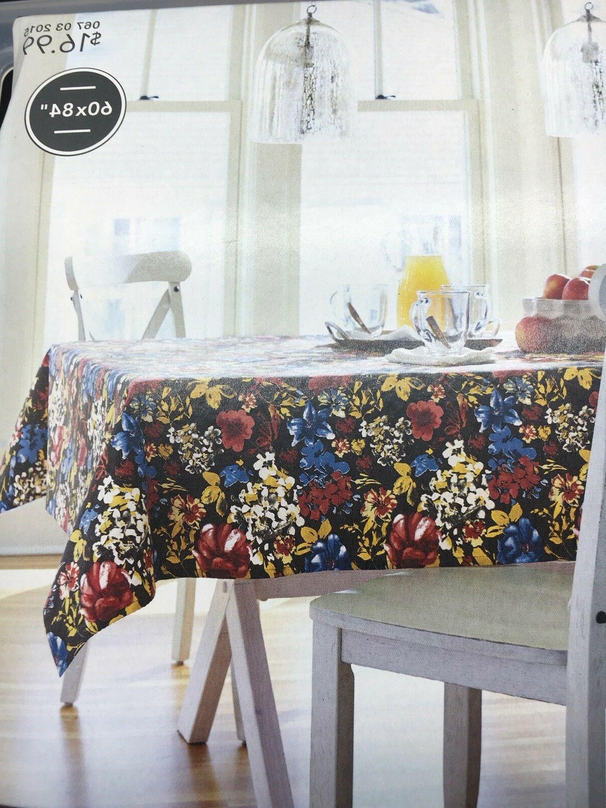 Threshold FLORAL Oblong Tablecloth Table Fabric NEW