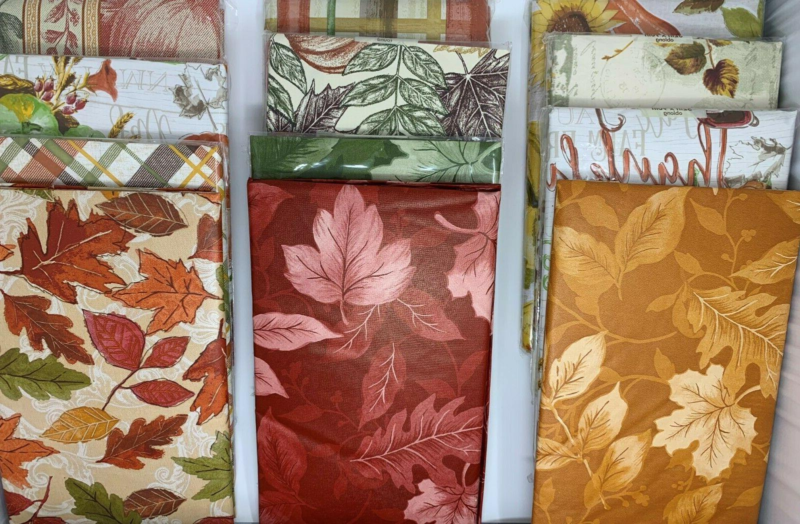 autumn vinyl cloth backed tablecloth round square