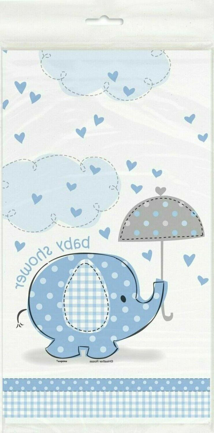 Blue Plastic Tablecloth 84 x 54 Baby Shower Decorations For