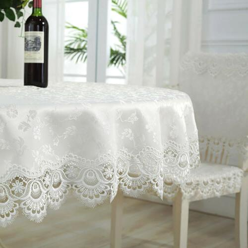 Tablecloth Round/Rectangle White Lace Satin Table Cloth Cove