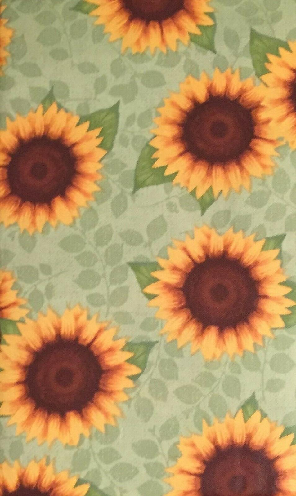Colorful Yellow Sunflowers on Green Vinyl Flannel Back Table