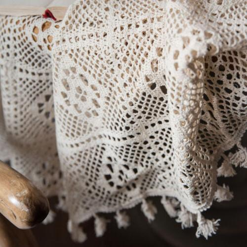 Crochet Lace Tablecloth Tassel Table Braided Piano Cover Home