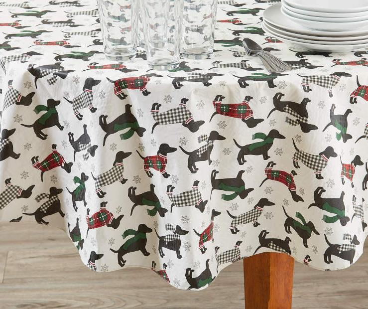 dachshund peva tablecloth 60 round holiday winter