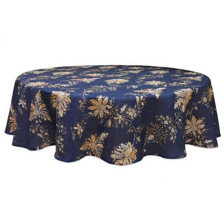 "Fabric Tablecloth 70"" Rd Round Avignon Navy Jacobean Print B"