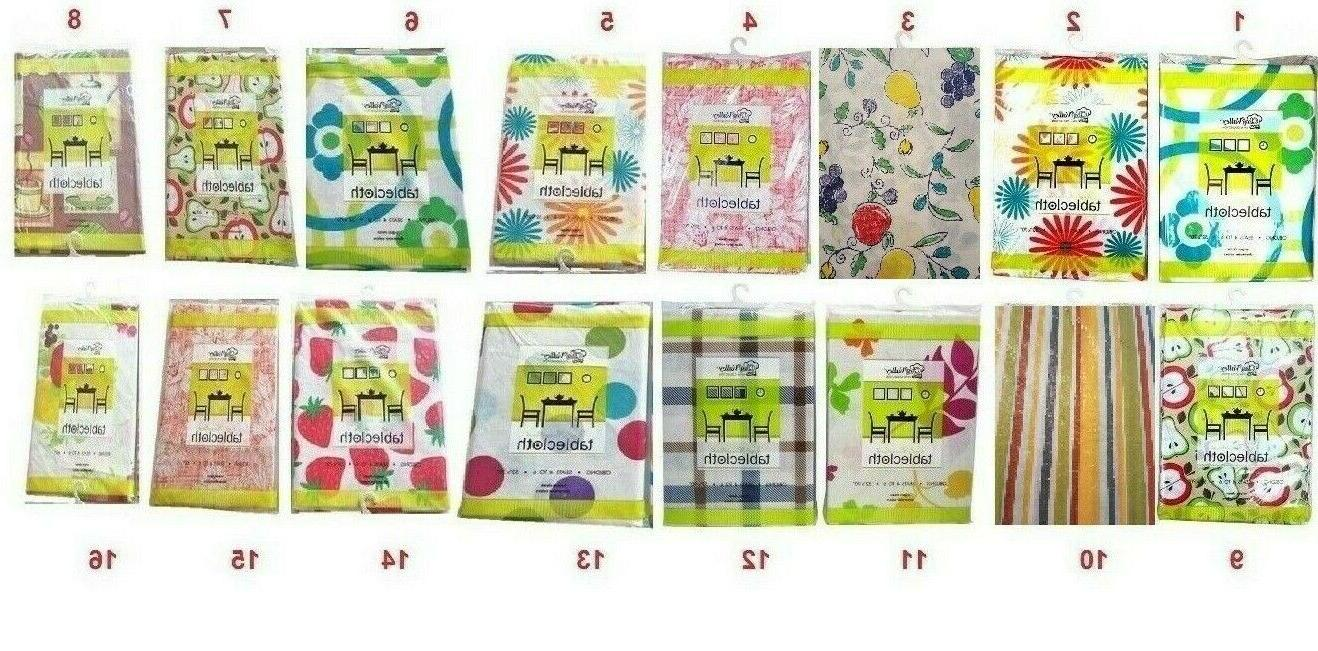 flannel back vinyl tablecloth printed assorted colors