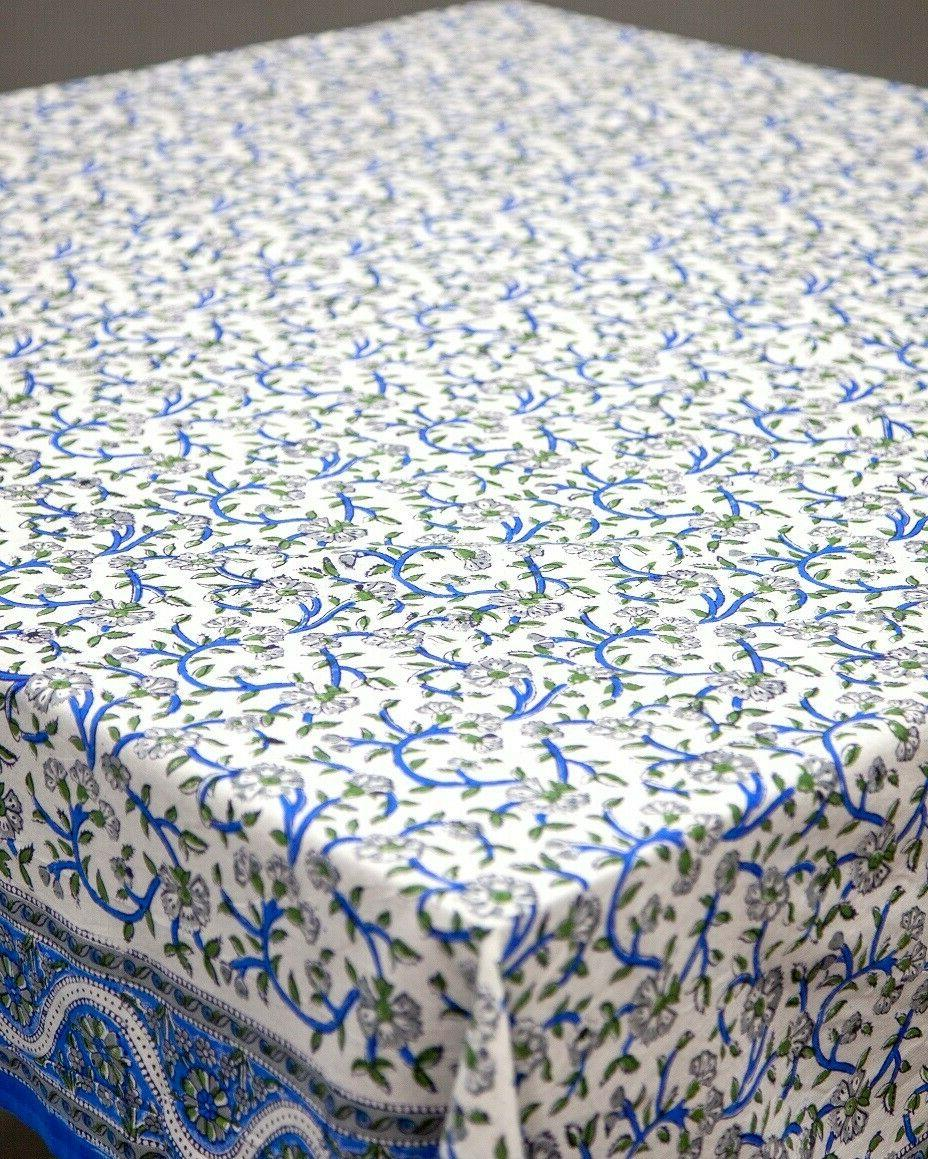 India Hand Print Floral Tablecloth Square 72x72 Cotton Blue