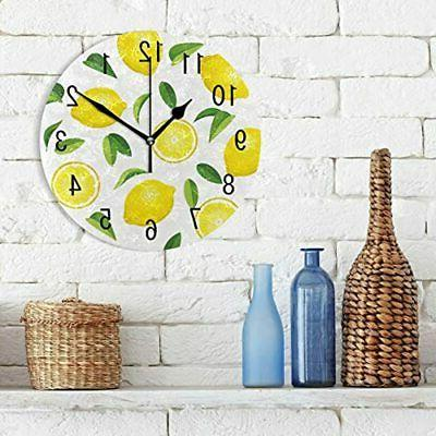 Home Fruit Leaves 9.5 Inch Round Acrylic Clock Non